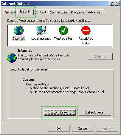 Internet Options configuration dialog