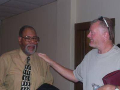 Bro. Jerry Richardson jokes with our Christian Counselor, Min. Robert Waterloo.